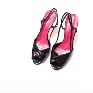 Kate Spade Black Patent Leather Crisscross Sandals